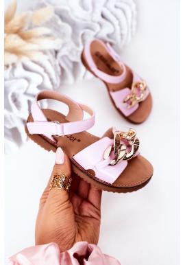 Módne detské sandále s retiazkou v ružovej farbe