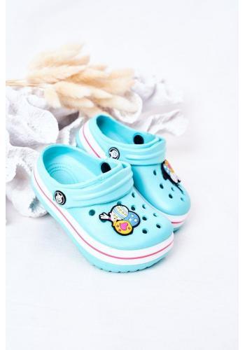 Štýlové detské gumené šľapky v modrej farbe