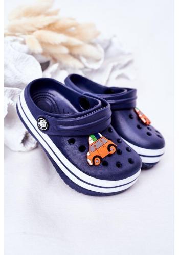 Módne detské gumené šľapky v modrej farbe