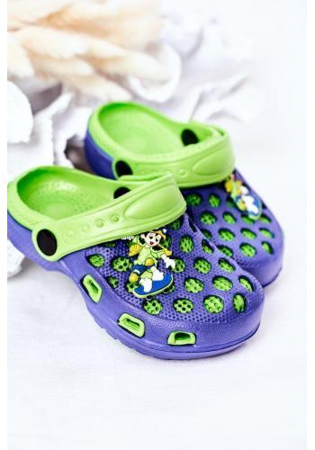 Detské penové šľapky v modro-zelenej farbe