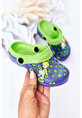 Módne detské penové šľapky v modro-zelenej farbe