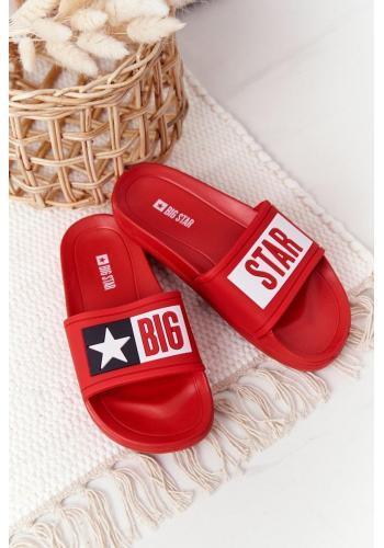Módne detské šľapky značky BIG STAR v červenej farbe