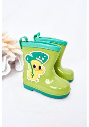 Módne detské gumáky s kuriatkom v zelenej farbe