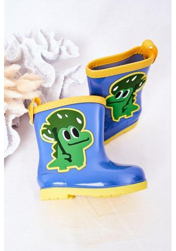 Trendy detské gumáky s krokodílom v modrej farbe