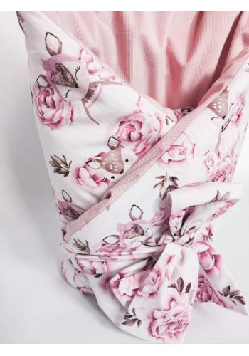 Bavlnená zavinovačka s motívom srniek a kvetov