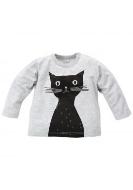 Sivá bavlnená detská blúzka s veselou mačičkou
