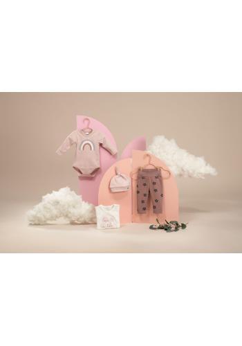 Bavlnené detské body ružovej farby s dúhou