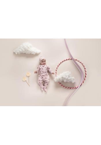 Ružový bavlnený overal na spanie s kvetinovým motívom