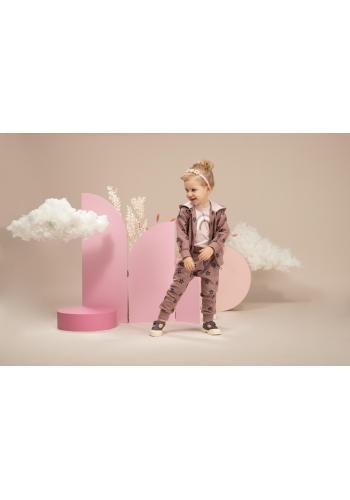 Dievčenská ružová mikina s malými kvietkami