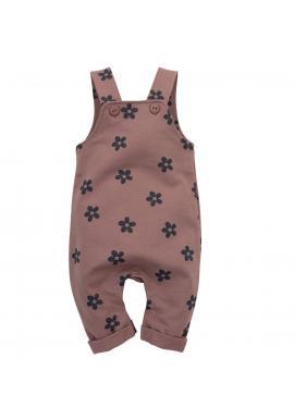 Bavlnené dievčenské nohavice na traky s kvetinovým motívom