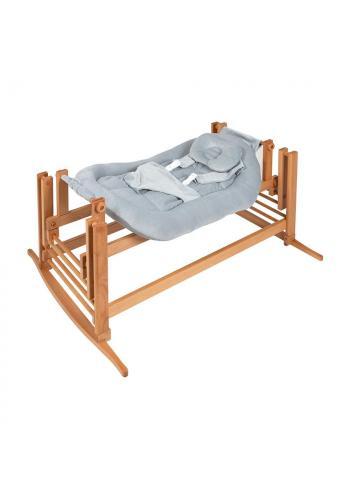 Kolíska DREAMER Premium pre bábätka so sivým matracom - prírodný buk