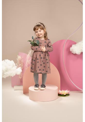 Elegantné dievčenské ružové šaty s kvietkami