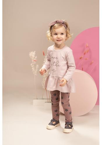 Štýlová dievčenská tunika ružovej farby s nápisom