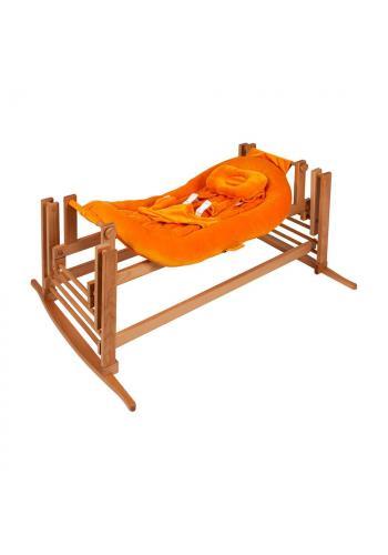 Kolíska DREAMER Premium pre bábätka s oranžovým matracom - prírodný buk
