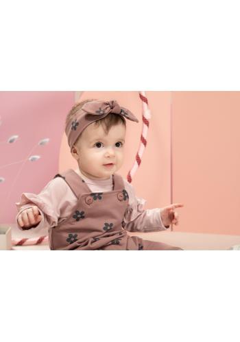 Ružová čelenka pre dievčatko s ozdobnou mašľou a kvietkami
