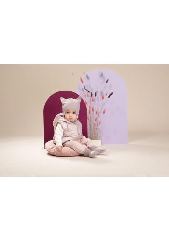 Dievčenská čiapočka s uškami v zaujímavom odtieni sivej