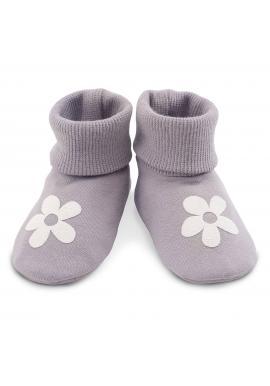 Bavlnené detské sivé papučky s kvietkom