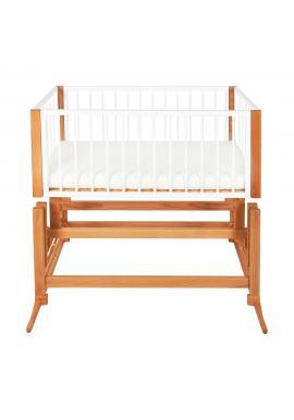 Drevená kolíska DREAMER Premium pre bábätka s horčicovým matracom - biely buk