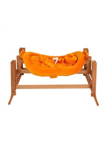 Drevená kolíska DREAMER Premium pre bábätka s oranžovým matracom - biely buk