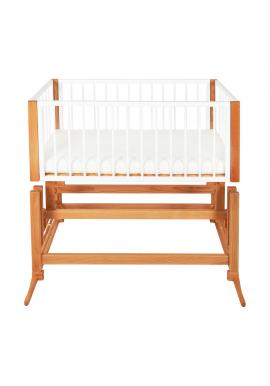 Drevená kolíska DREAMER Premium pre bábätka so sivým matracom - biely buk