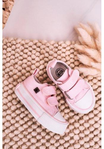 Ružové dievčenské tenisky Big Star na suchý zips v zľave