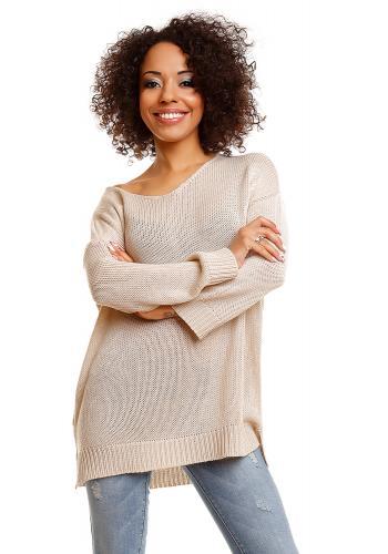 Dámsky biely širší sveter s rozparkami po bokoch