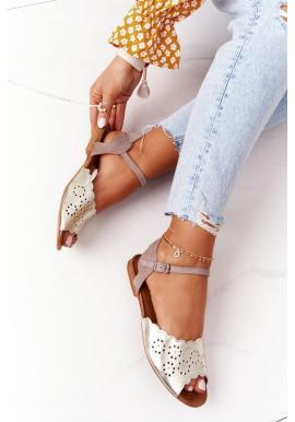 Módne dámske kožené sandále v zlatej farbe
