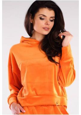 Velúrová dámska mikina oranžovej farby s kapucňou