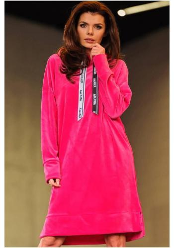 Ružové velúrové šaty s dlhým rukávom pre dámy