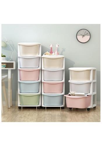 Plastový regál na kolieskach s farebnými šuflíkmi