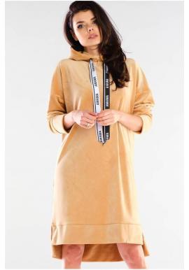 Dámske velúrové šaty s dlhým rukávom v béžovej farbe