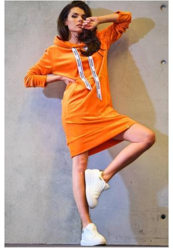 Oranžové velúrové šaty s veľkým predným vreckom pre dámy