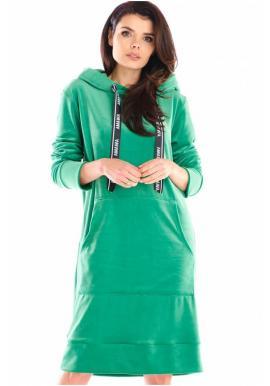 Dámske velúrové šaty s veľkým predným vreckom v zelenej farbe