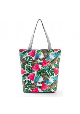 Plážová dámska taška s farebnou tropickou potlačou