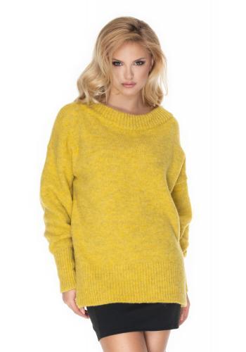 Módny dámsky oversize sveter v žltej farbe