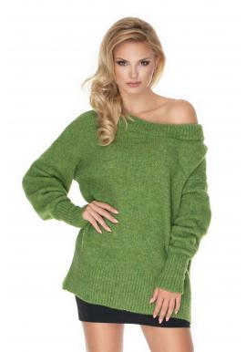 Zelený módny oversize sveter pre dámy