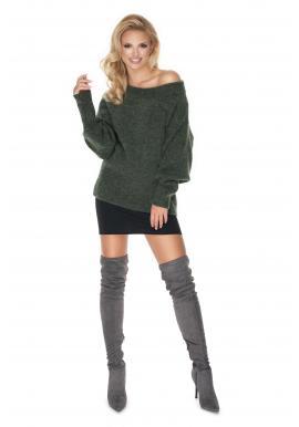 Štýlový dámsky oversize sveter v khaki farbe