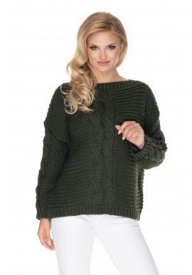 Khaki oversize sveter s ozdobným vrkočom pre dámy