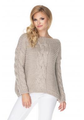 Oversize béžový sveter s ozdobným vrkočom pre dámy