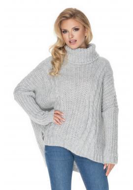 Rolákový ovrsize sveter pre dámy svetlosivej farby