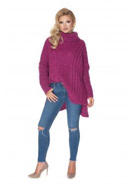 Štýlový dámsky rolákový sveter v slivkovej farbe