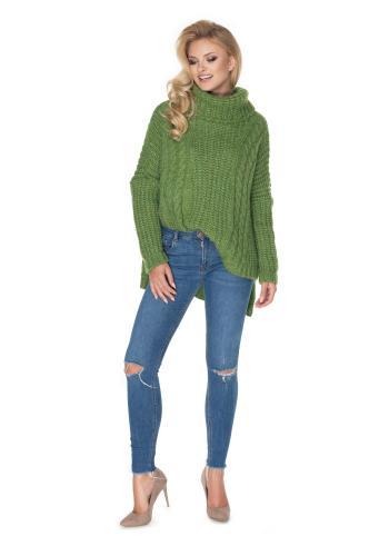 Rolákový oversize sveter zelenej farby