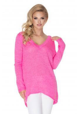Neónovo - ružový voľný sveter s V-výstrihom