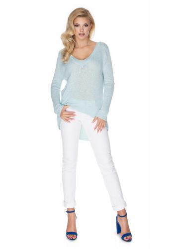 Asymetrický modrý sveter pre dámy s V-výstrihom