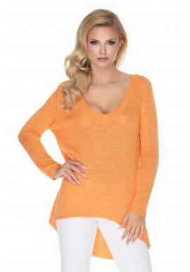 Módny asymetrický sveter s V-výstrihom v oranžovej farbe