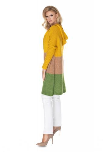 Dlhý kardigán s kapucňou v horčicovo-zelenej farbe
