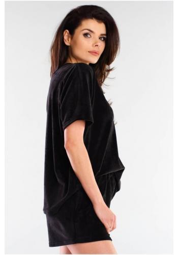 Velúrové dámske šortky čiernej farby s voľným strihom