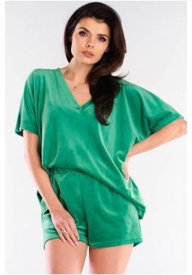 Zelené velúrové šortky s voľným strihom pre dámy