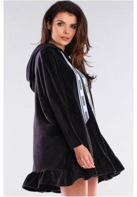 Dámska oversize mikina s kapucňou v čiernej farbe