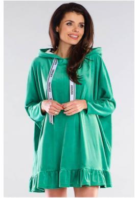 Oversize dámska mikina zelenej farby s kapucňou